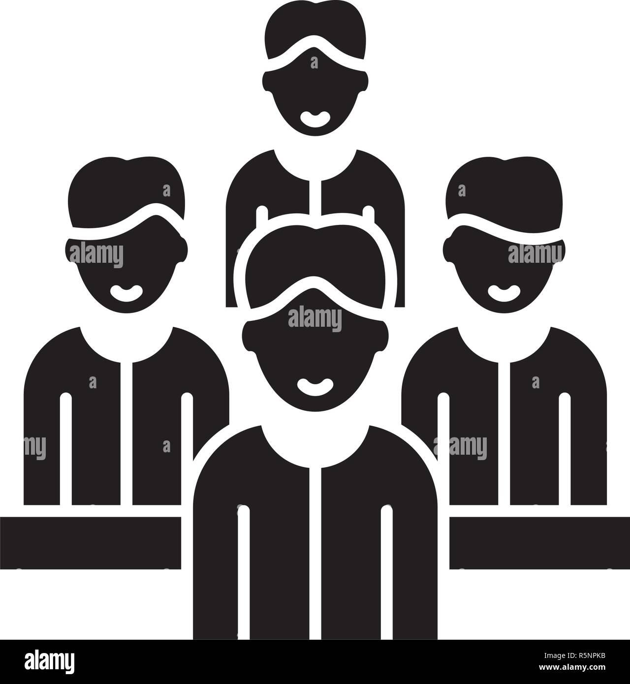 Team Agile icona nera, segno del vettore su sfondo isolato. Team Agile concetto simbolo, illustrazione Immagini Stock