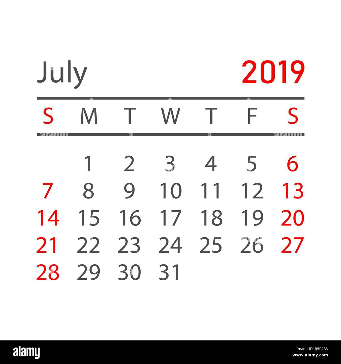 Calendario 31 Luglio 2019.Il Calendario Di Luglio 2019 Anno In Stile Semplice