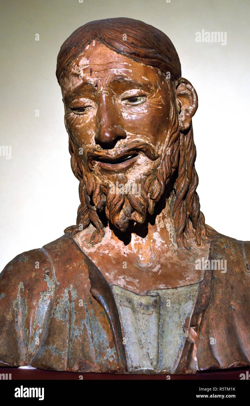 Cristo passo - passo di Cristo (l'uomo dei dolori) 1490 da Agostino de Fondulis 1450-1522 15-16secolo, Italia, italiano. Immagini Stock