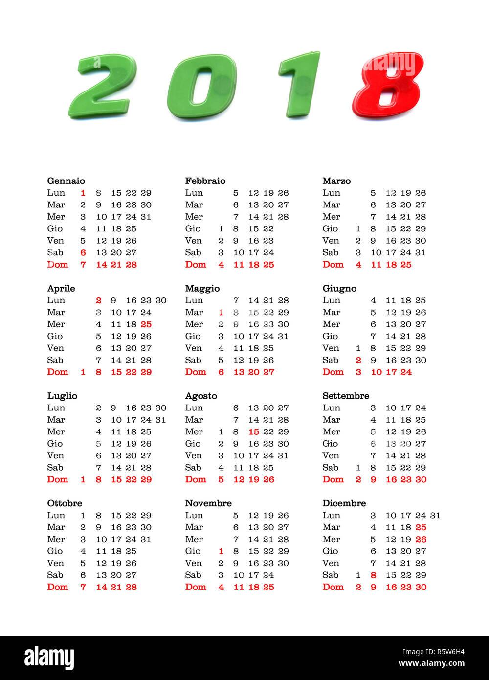 Italia Calendario.Anno 2018 Calendario Italia Foto Immagine Stock