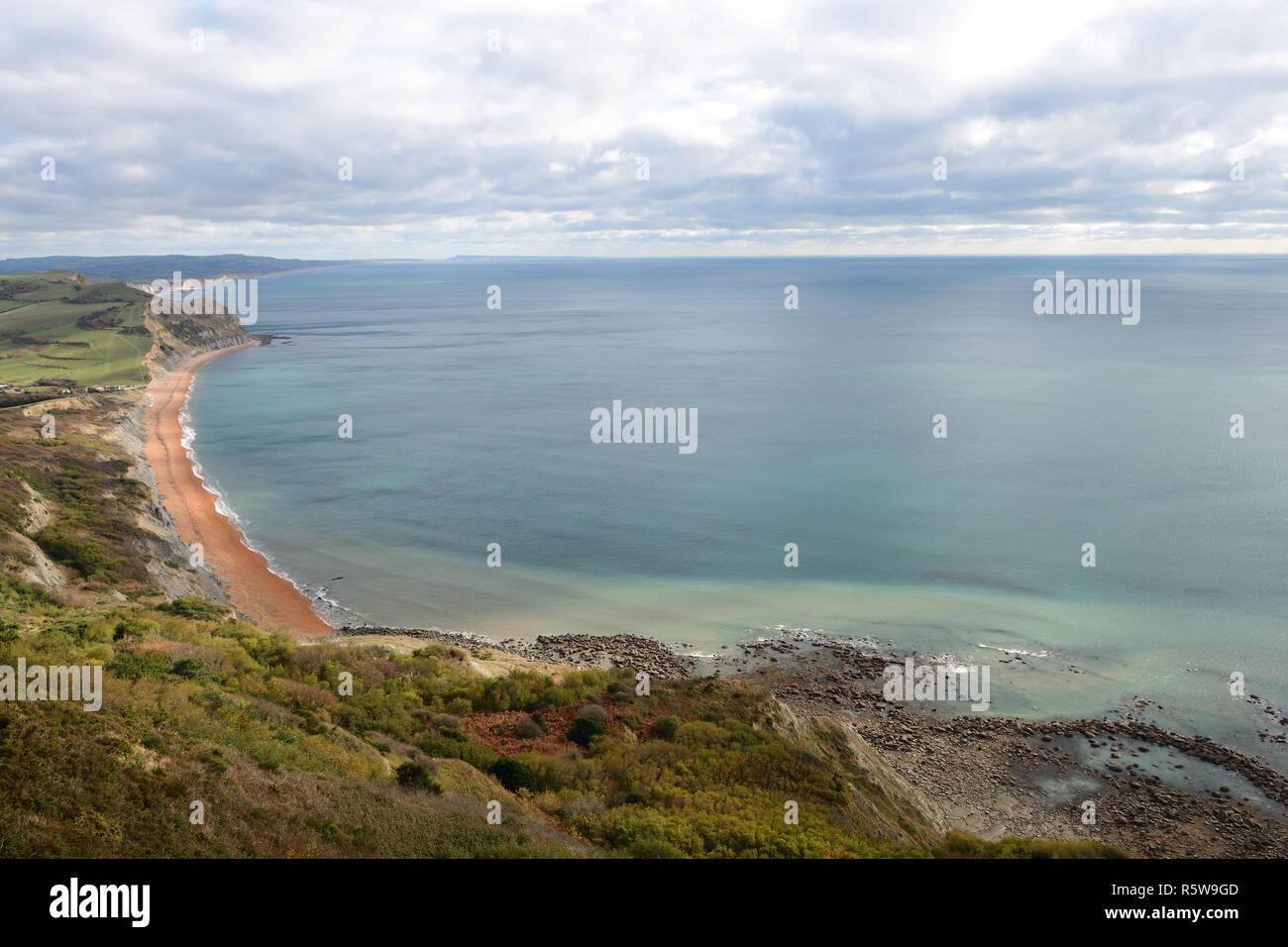 Vista panoramica del Dorset costa intorno all'area Seatown Foto Stock
