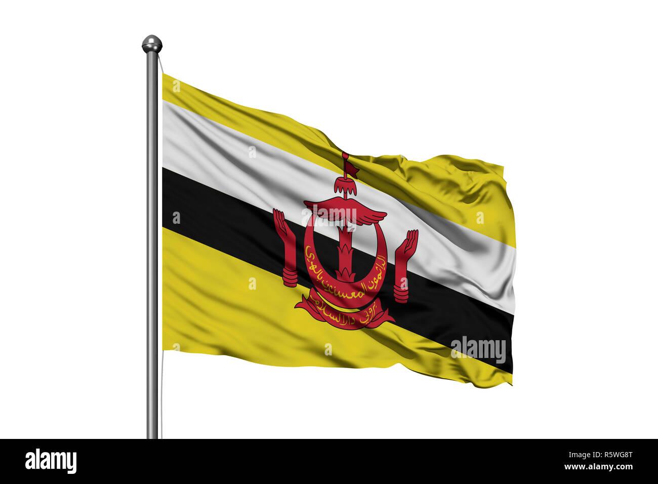 Bandiera del Brunei sventolare nel vento, isolato sullo sfondo bianco. Bruneian bandiera. Immagini Stock