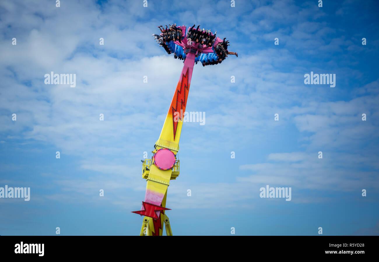 Hong Kong, Cina, Nov 29, 2018: Flash ride a Ocean Park Hong kong. Piloti in uscita ride flash a Ocean Park Hong kong Immagini Stock