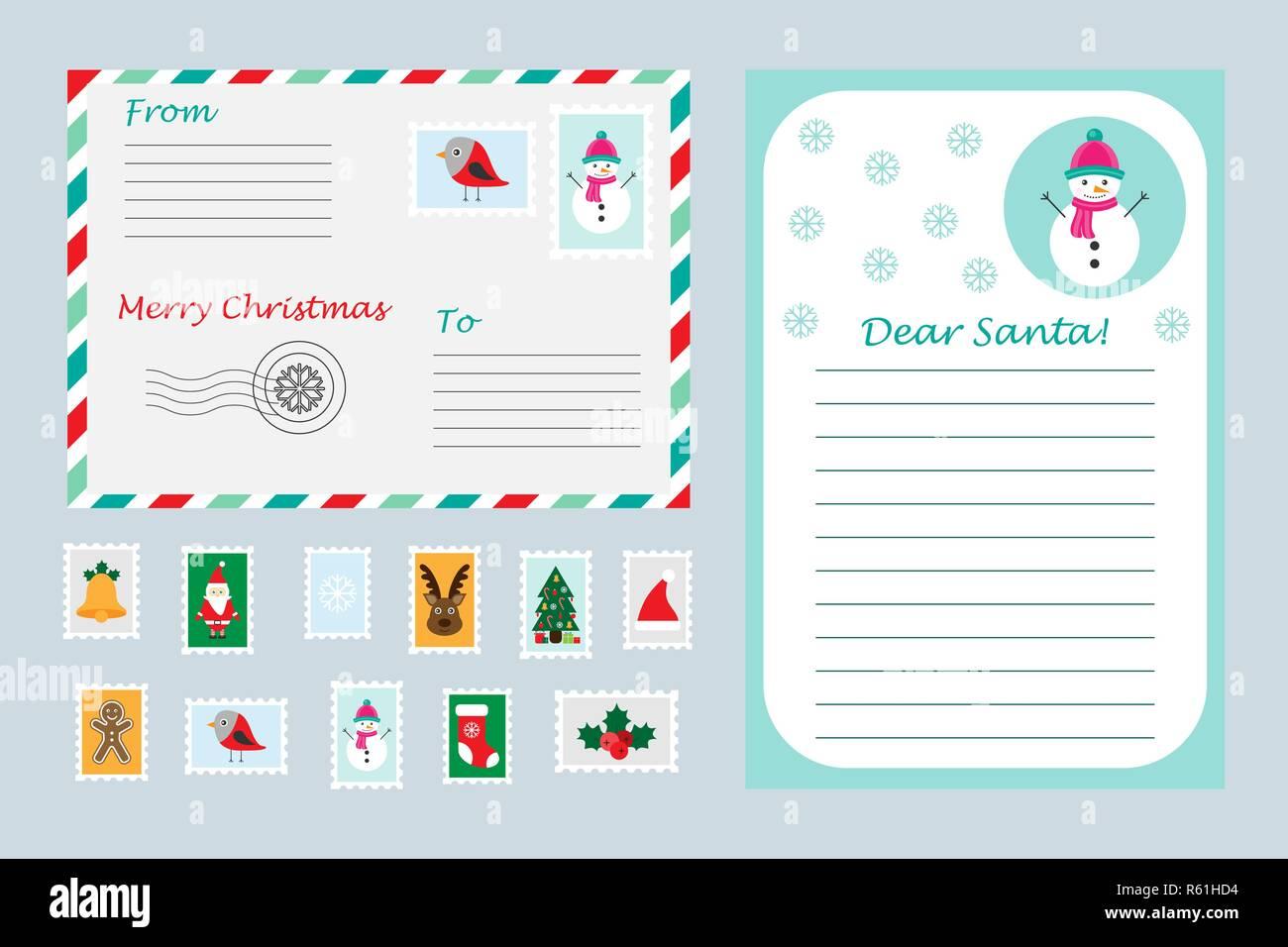 Lettera A Babbo Natale Divertente.Set Di Natale Della Lettera A Babbo Natale Busta E I