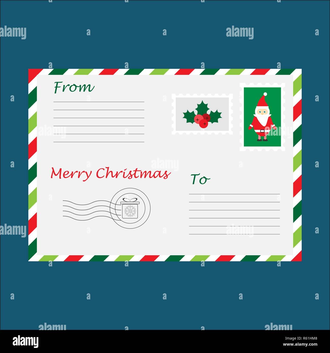 Lettera A Babbo Natale Divertente.Busta Di Natale Per Lettera A Babbo Natale Per I Bambini