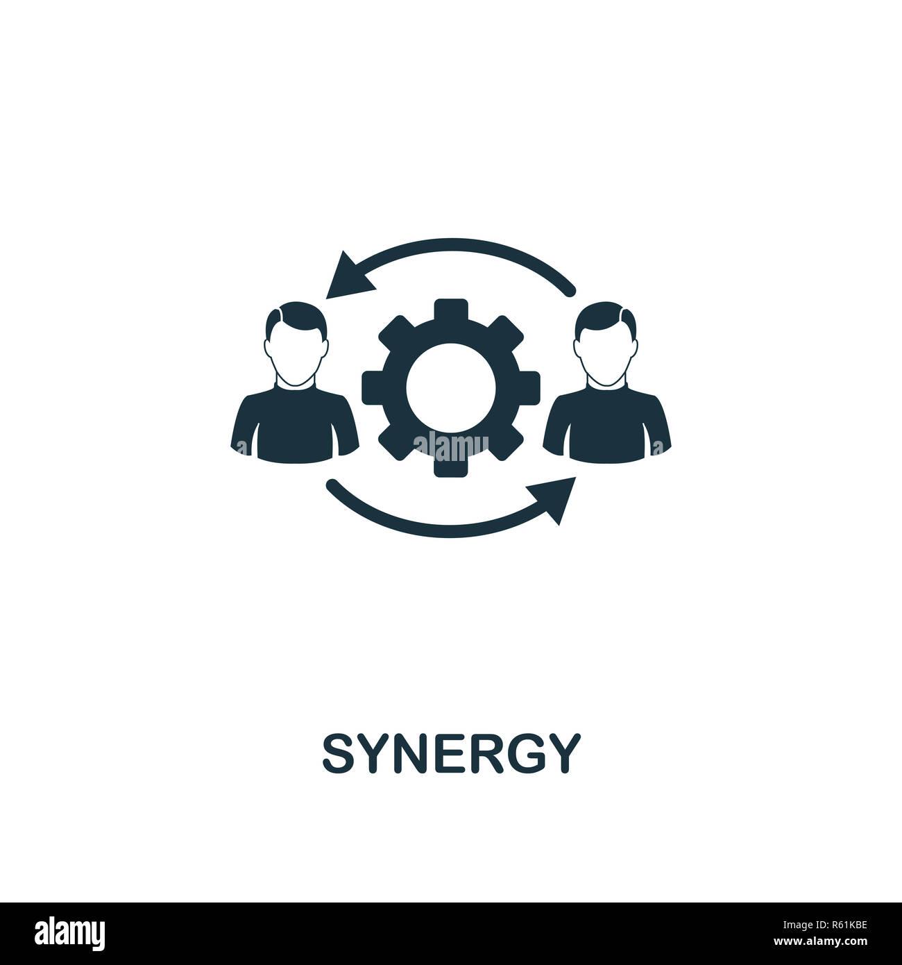 Icona di sinergia. Premio di design di stile da teamwork raccolta icona. Interfaccia utente e UX. Pixel in perfetta sinergia icona per web design, applicazioni software, l'uso della stampa. Immagini Stock