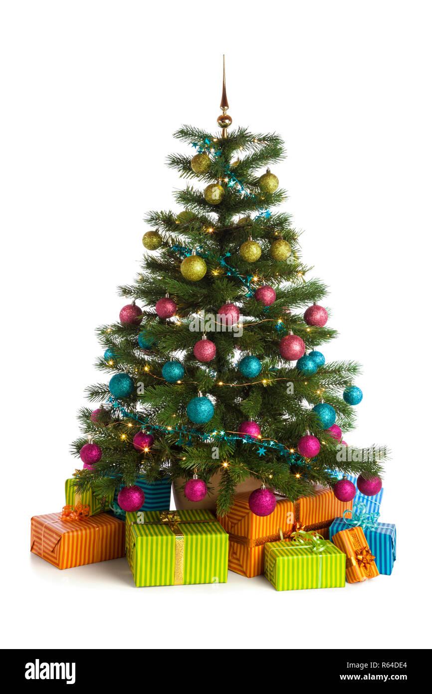 Albero Di Natale Rosa.Avvolto Doni Sotto Illuminato Albero Di Natale Con Verde Rosa Blu