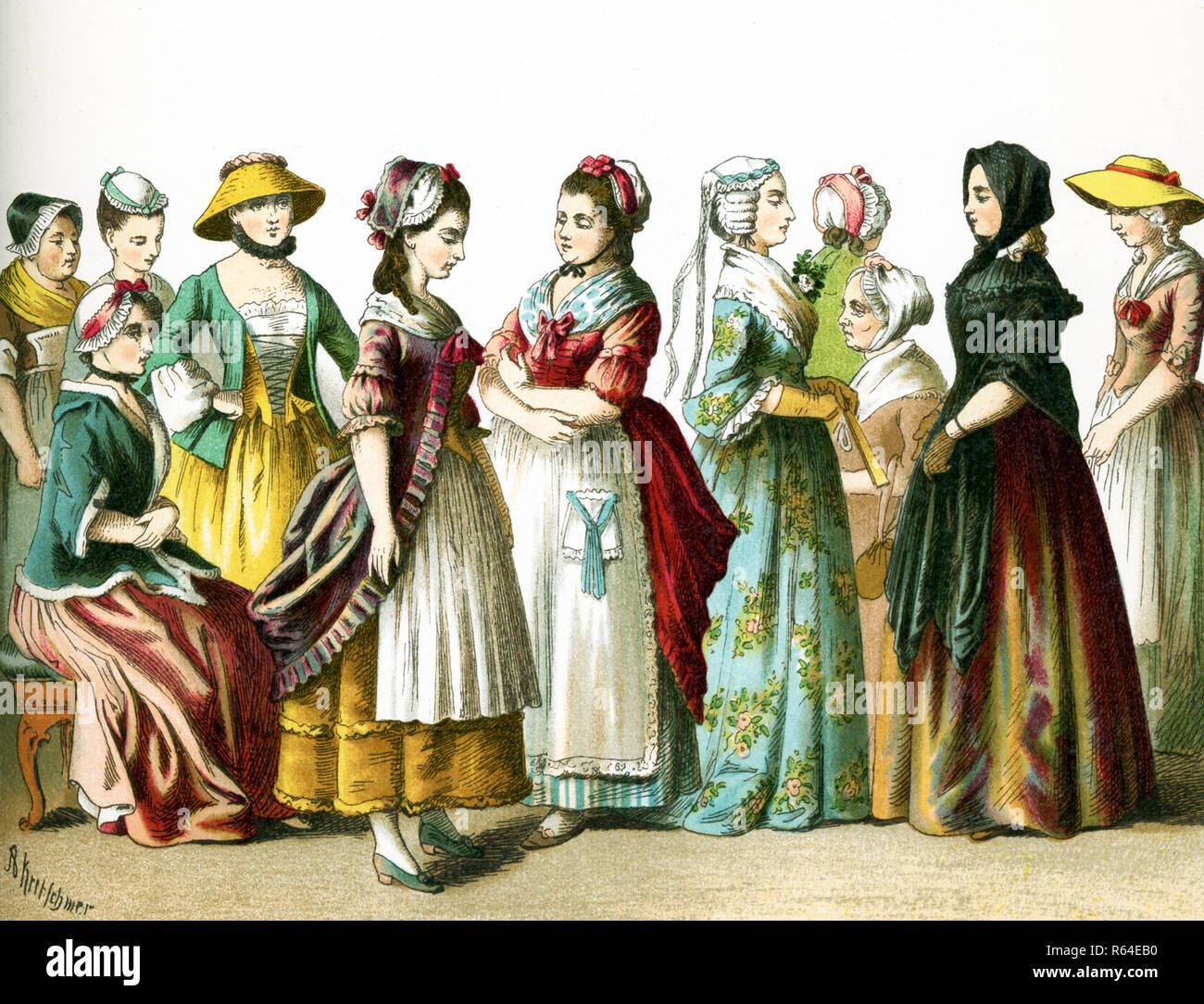 Le figure qui illustrato sono tedesco cittadini femminile nel 1700. Questa illustrazione risale al 1882. Immagini Stock