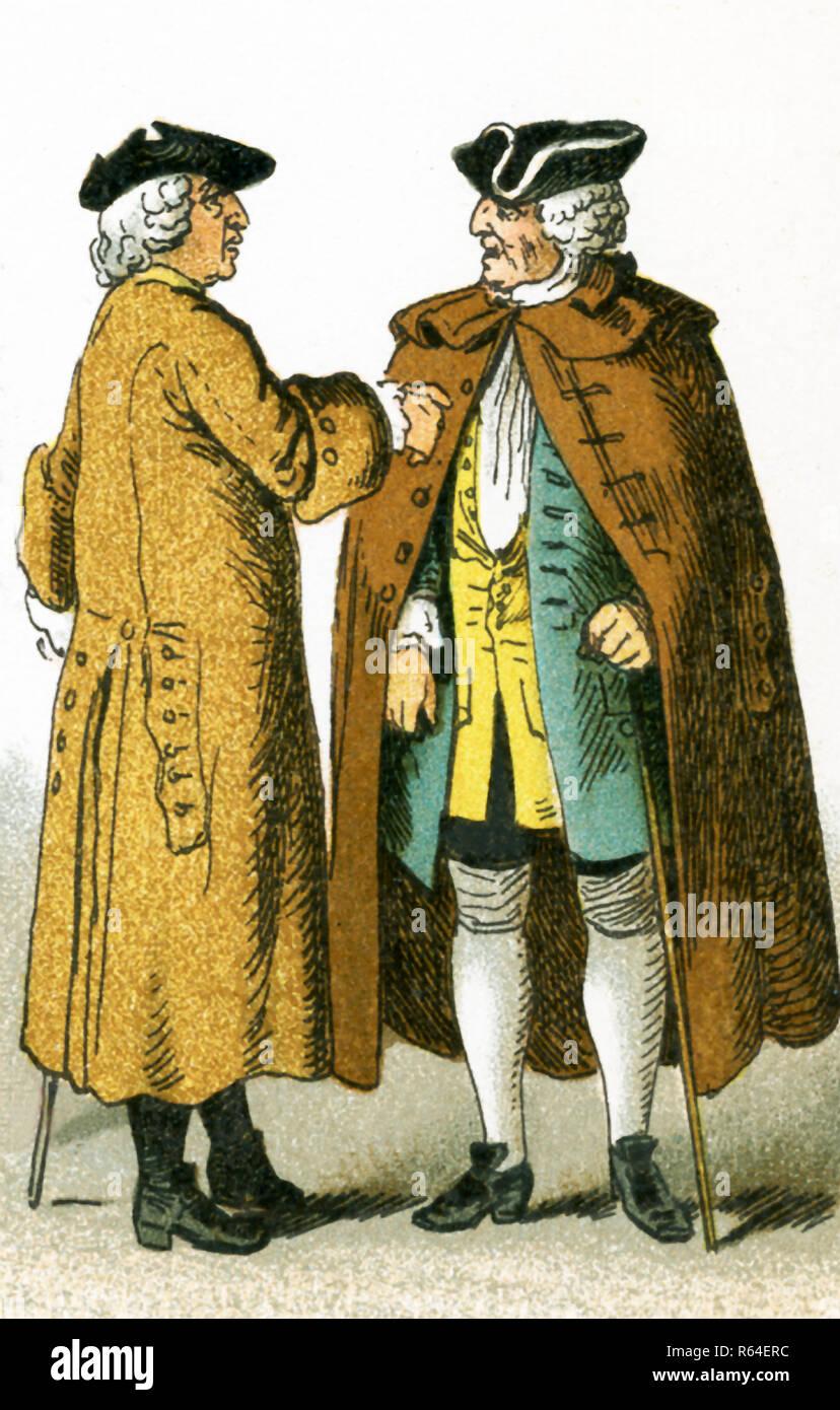 Le figure foto qui sono i tedeschi nel 1700. Essi sono, da sinistra a destra: due cittadini. Questa illustrazione risale al 1882. Immagini Stock