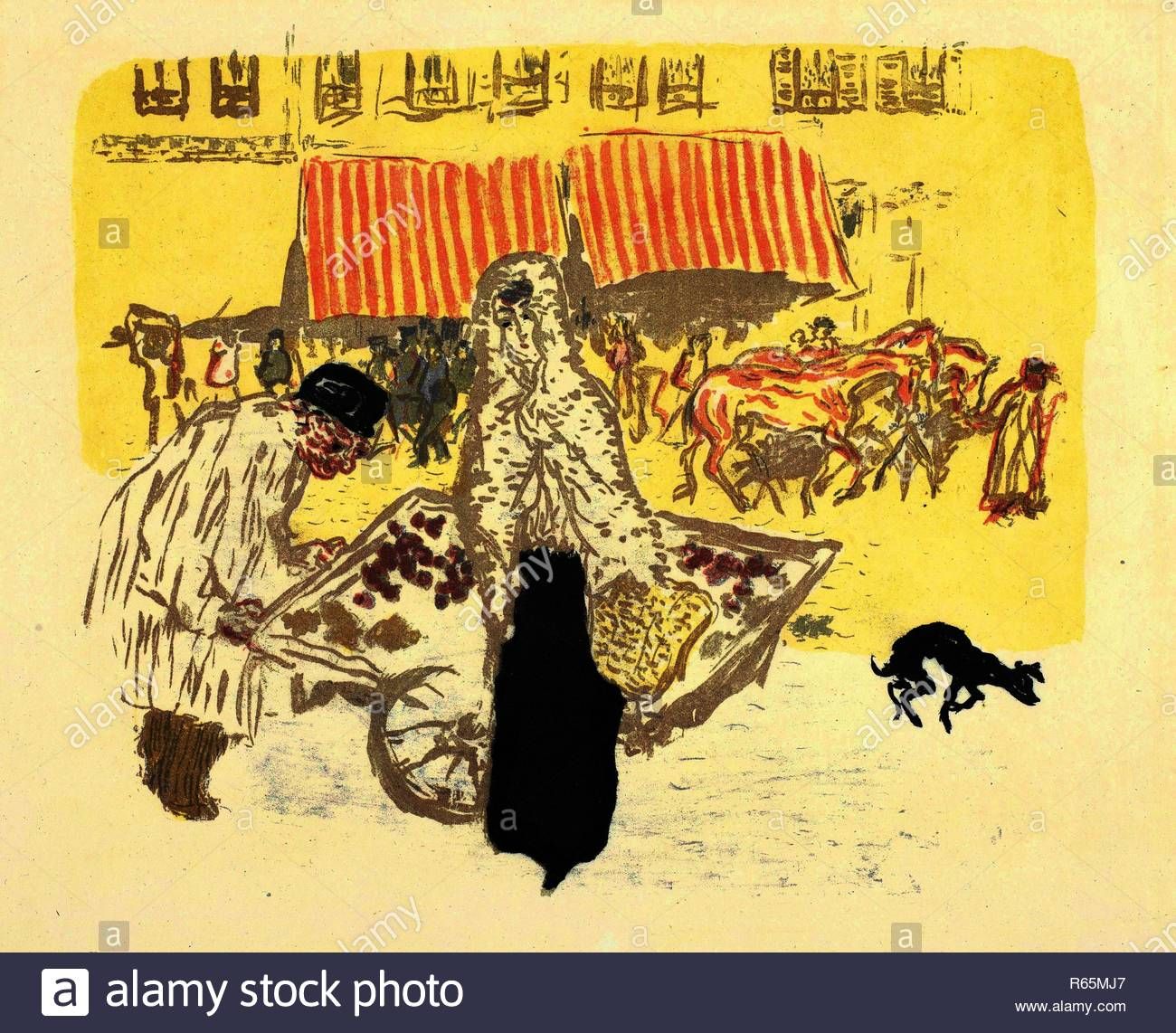 Ortolano (Le marchand des quatre-saisons). Dimensioni: 41 cm x 53 cm, 28 cm x 33,3 cm. Museo: Van Gogh Museum di Amsterdam. Autore: Bonnard Pierre. Immagini Stock
