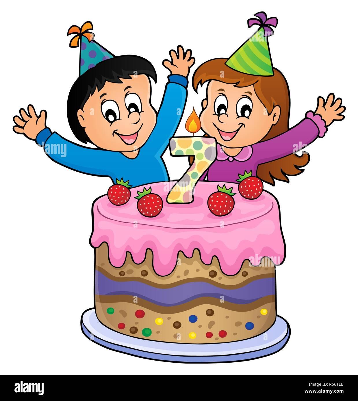 Auguri Buon Compleanno 7 Anni.Buon Compleanno Immagine Per 7 Anni Foto Immagine Stock
