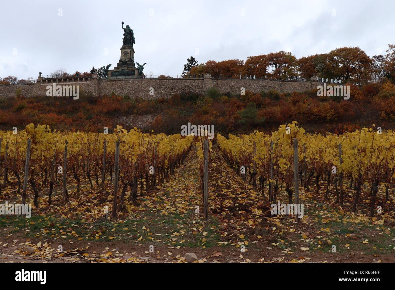 Vista da un sentiero vicino alla Germania un monumento a Rudesheim Bingen Germania Immagini Stock