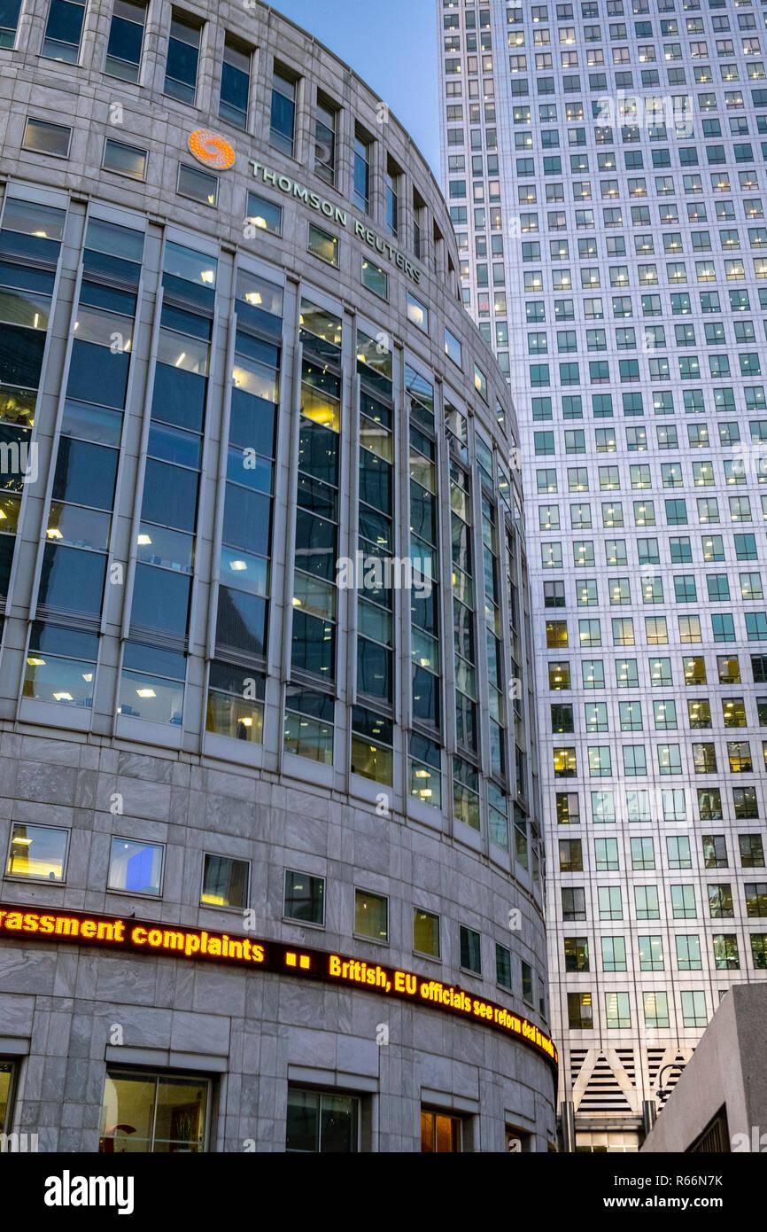 7df9949394 Thomson Reuters building, Docklands di Londra, Regno Unito. Immagini Stock