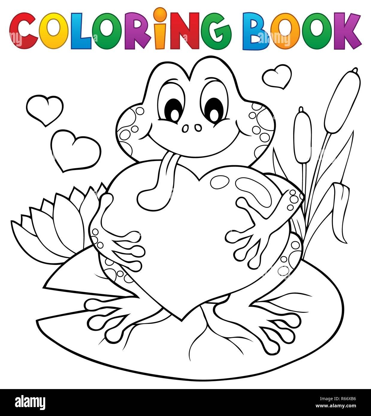 Libro Da Colorare Rana Di San Valentino Foto Immagine Stock