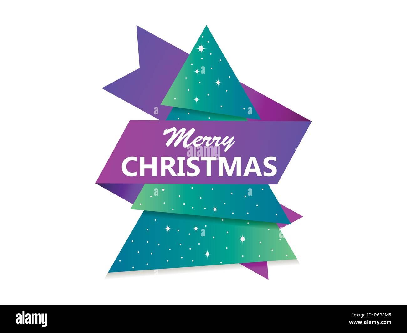 Merry Christmas Greeting Card Albero Di Natale Con Nastro Carta