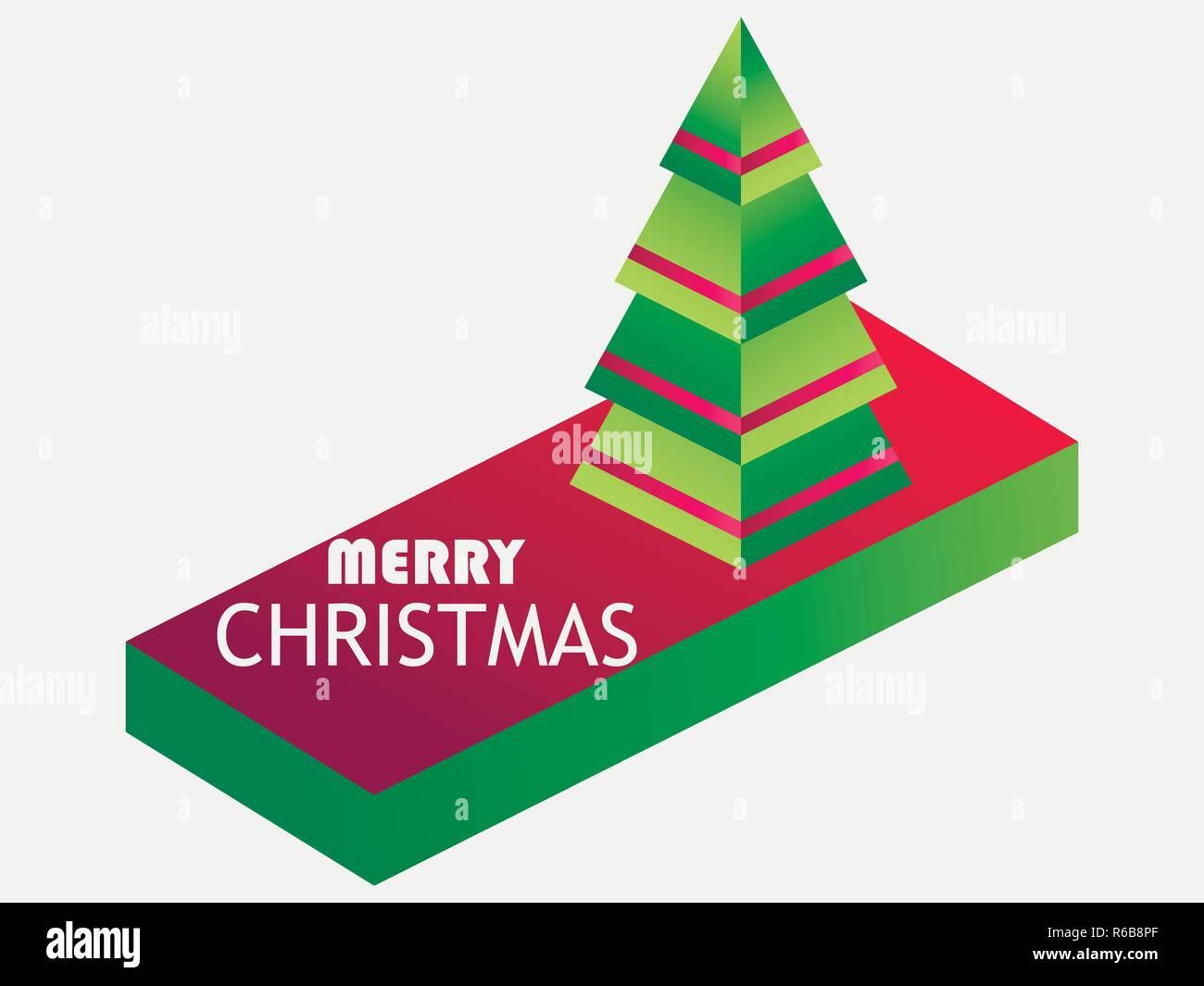Auguri Di Natale 3d.Auguri Di Buon Natale Isometrico Ad Albero Di Natale Icone 3d Di