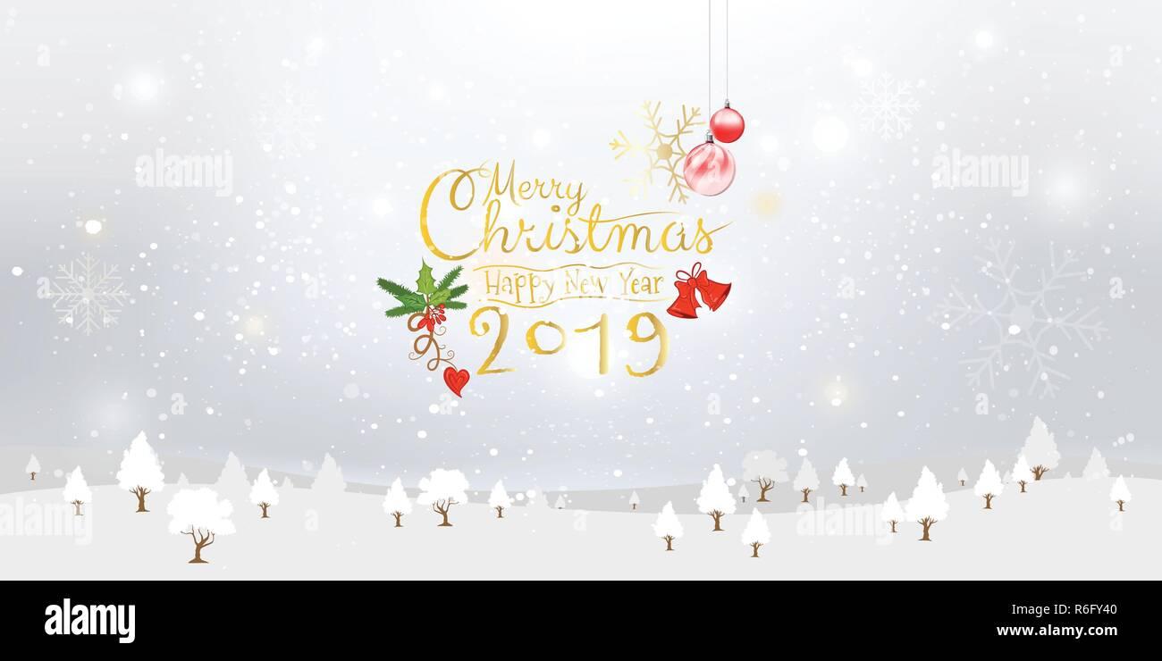 Diamo la neve! Buon Natale e Felice Anno Nuovo 2019 illustrazione e calligrafico Xmas ornamenti con neve invernale, i fiocchi di neve sullo sfondo. Il vettore Immagini Stock