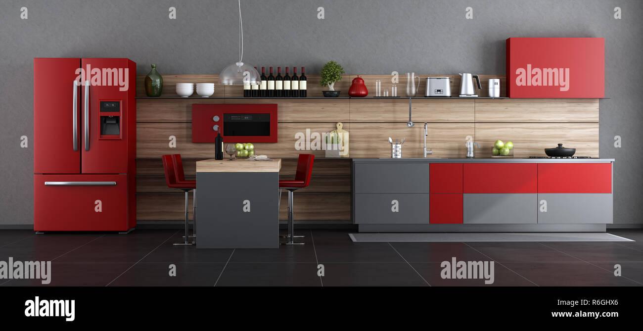 Rosso e grigio cucina contemporanea con isola e sgabello d