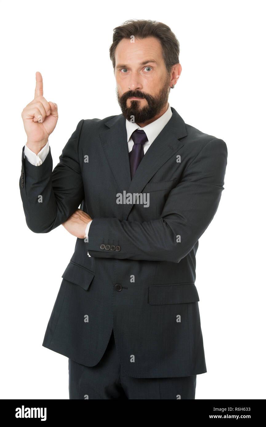 L'uomo advisor annuncio di puntamento isolato su bianco. Check out di advisor finanziario. Consulente aziendale Manager visualizza la direzione. Guarda che le statistiche dei dati finanziari. Puntando alla pubblicità commerciale. Immagini Stock