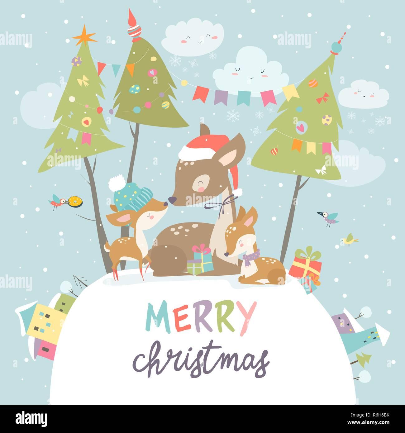 Buon Natale Famiglia.Cartoon Carino Famiglia Cervi Buon Natale E Felice Anno Nuovo