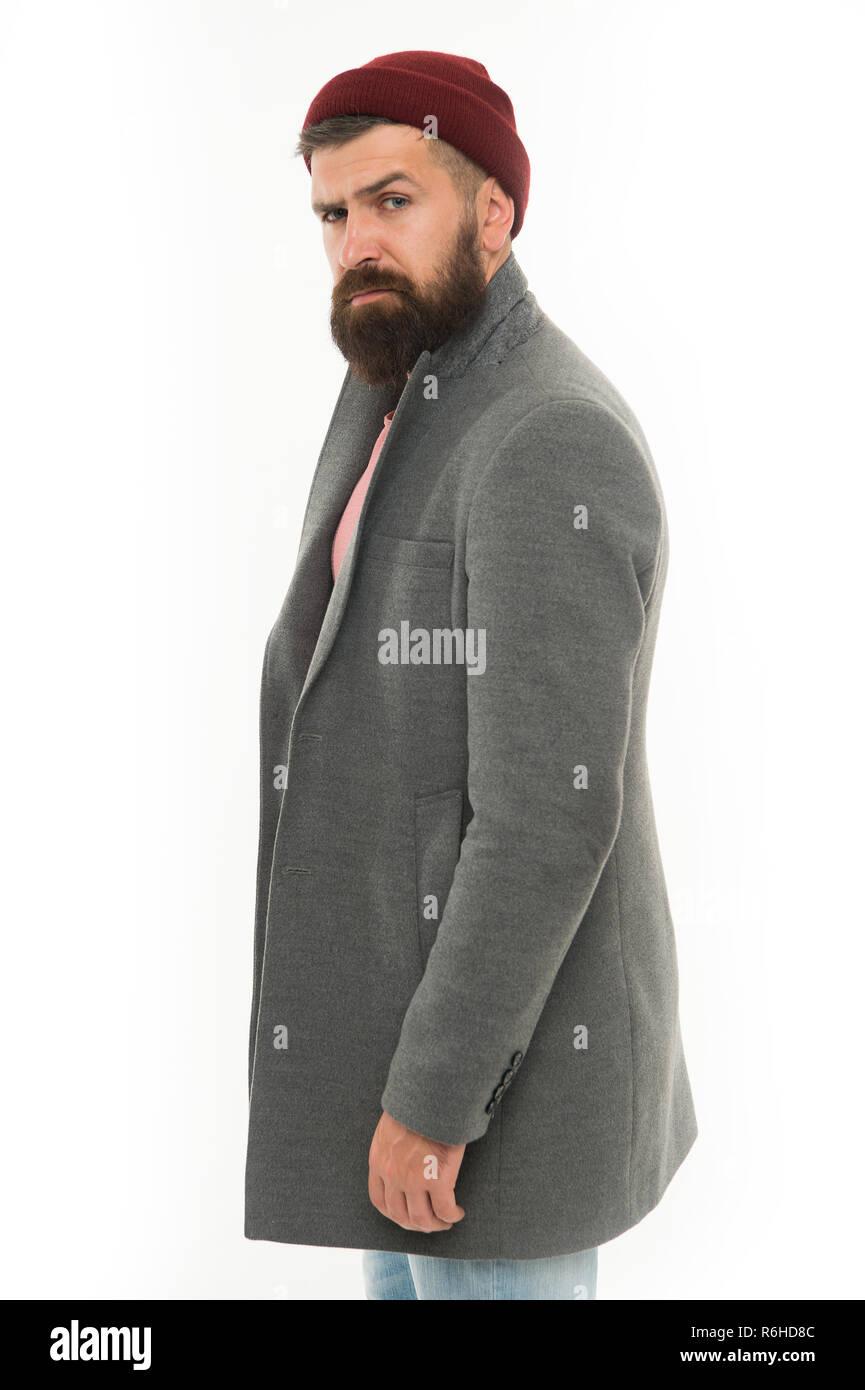 75b322f260 Uomo Barbuto hipster elegante Cappotto alla moda e hat. Vestito elegante  hat accessorio. Scegliere Matching vestiti.