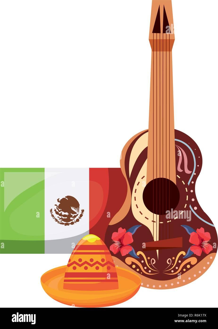 Chitarra e cappello messicano di bandiera il giorno dei morti illustrazione  vettoriale 40d8af049d39