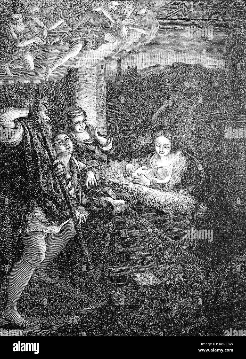 Digital riproduzione migliorata, la notte santa di Correggio, Die Heilige Nacht, von Correggio, 16. Jahrhundert, stampa originale del XIX secolo Immagini Stock