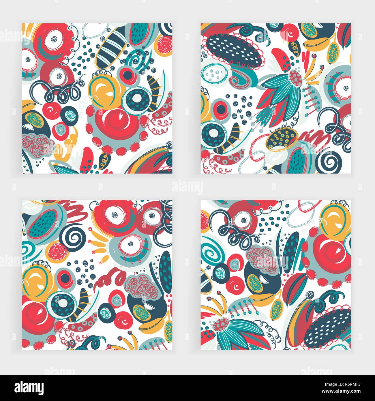 Set di vettore di quadri di carte. Disegnato a mano forme astratte, gli scarabocchi, spirales. Macchie ans macchie di vernice. Gli sfondi di Creative. Lo stile di Freehand. Design con scarabocchi Immagini Stock