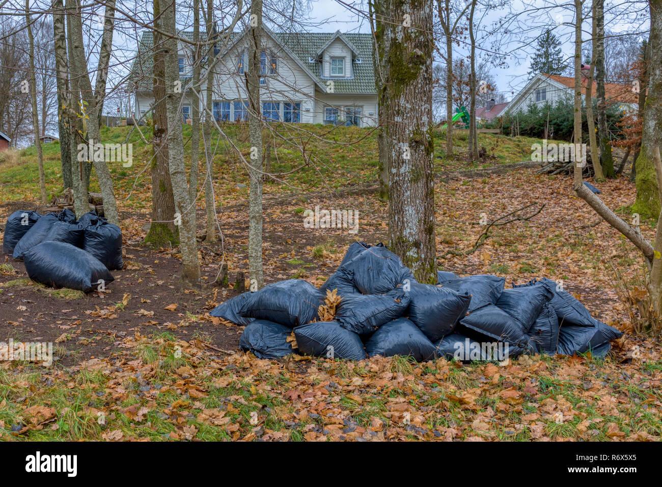 Carichi di scomparto nero borse impilati nel giardino della natura Immagini Stock