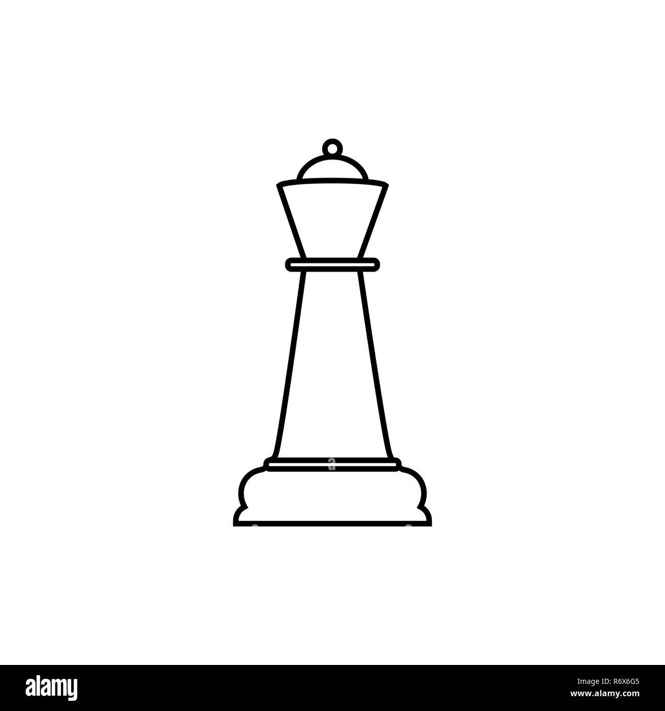 Queen a linea icona di scacchi. Illustrazione Vettoriale, design piatto. Illustrazione Vettoriale