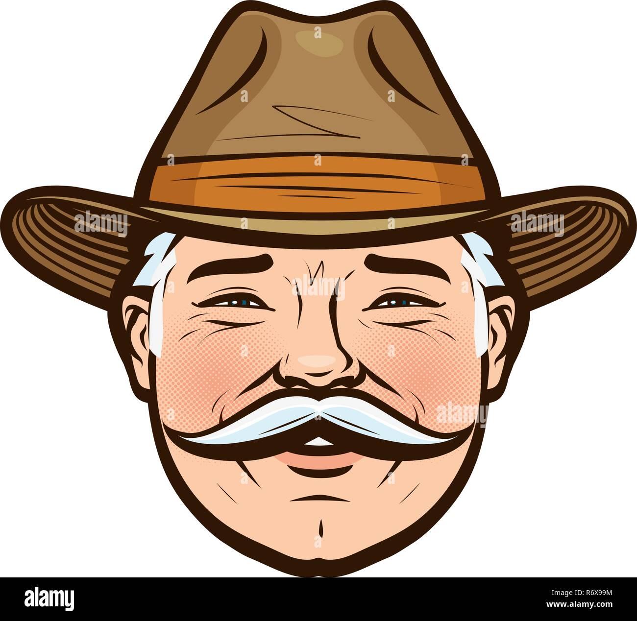 Ritratto di un agricoltore sorridente in un cappello. Illustrazione  Vettoriale Immagini Stock 2e2c7a691823