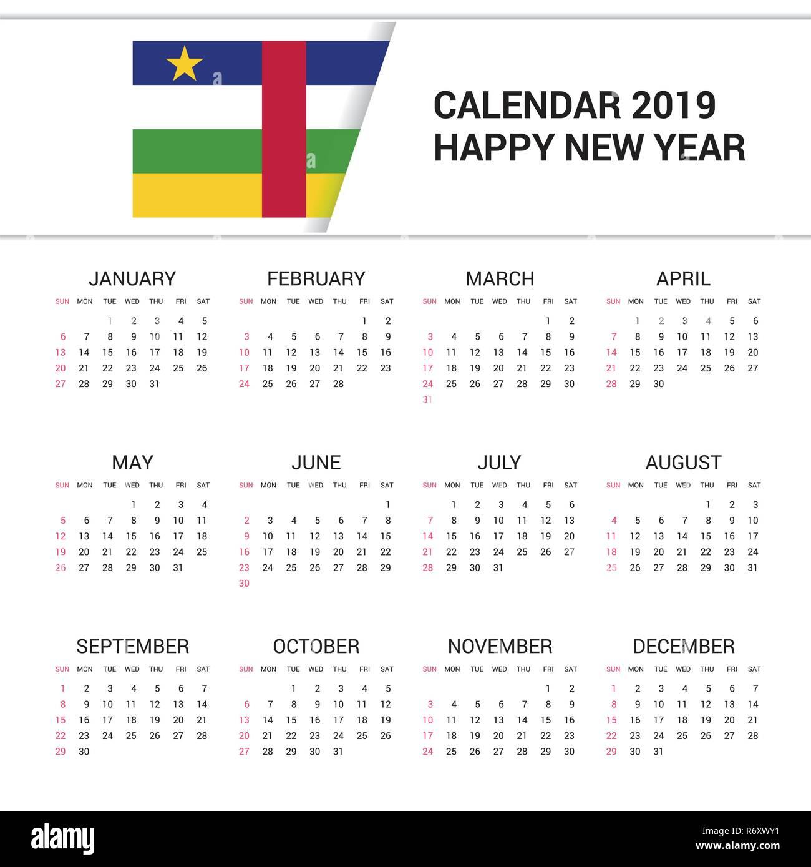Calendario Repubblica.Calendario 2019 Bandiera Della Repubblica Centrafricana