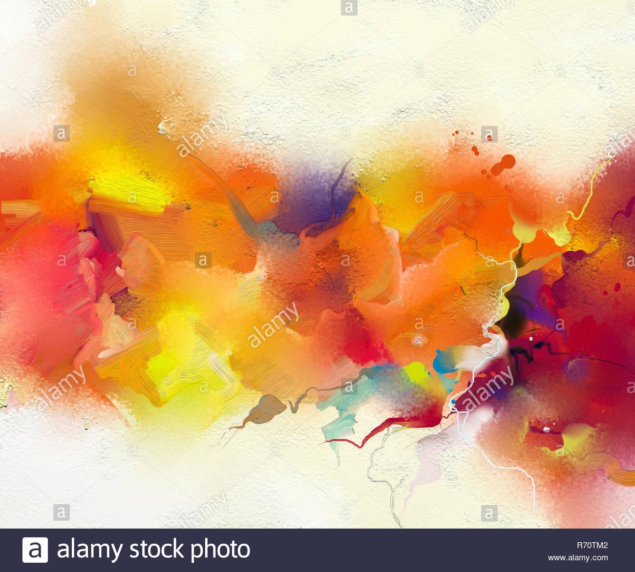 Abstract colorato la pittura ad olio su tela la texture. Disegnata a mano pennello, olio dipinti di colore sfondo Immagini Stock