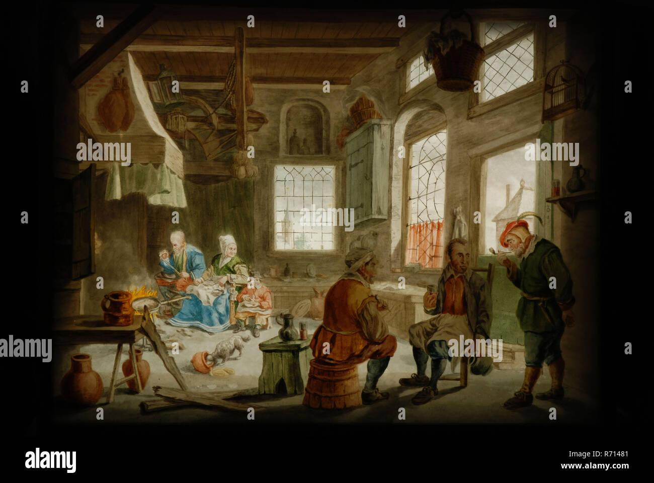 Casella di prospettiva di nero laccato legno con tre dipinti di