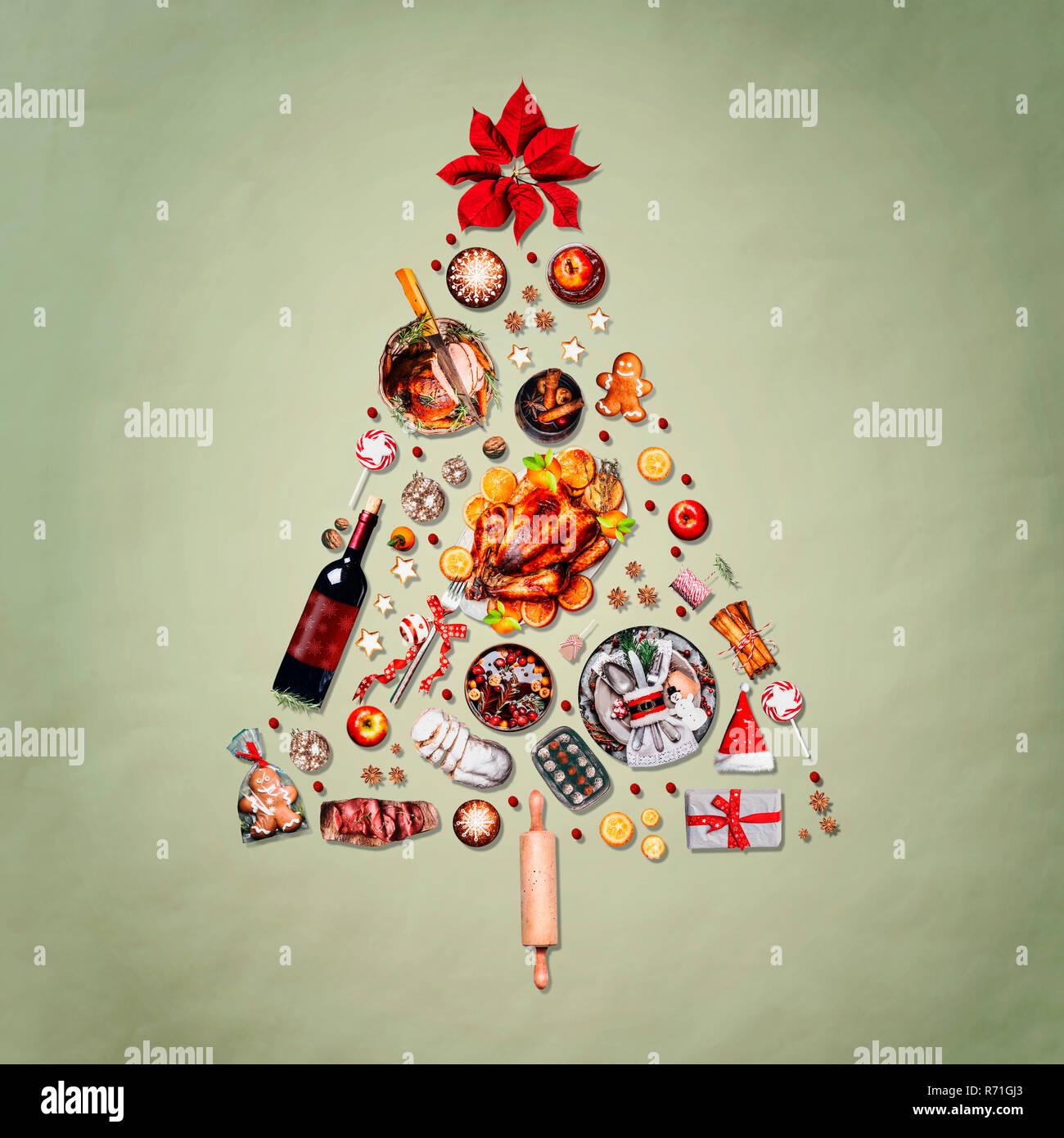 Albero Di Natale Fatto Con I Biscotti.Albero Di Natale Fatto Con Vari Cibi Di Natale Turchia Sul Piatto
