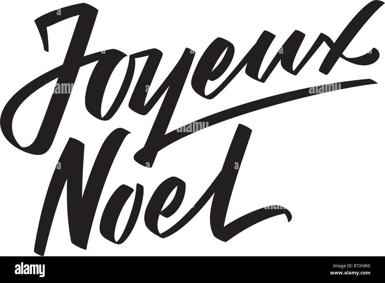 Auguri Di Buon Natale Francese.Joyeux Noel Calligrafica Testo Su Sfondo Bianco Moderno