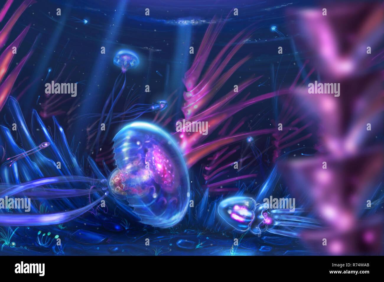 Concept Art onirico della pittura di fantasia di meduse come creature nuotare nell'oceano Immagini Stock