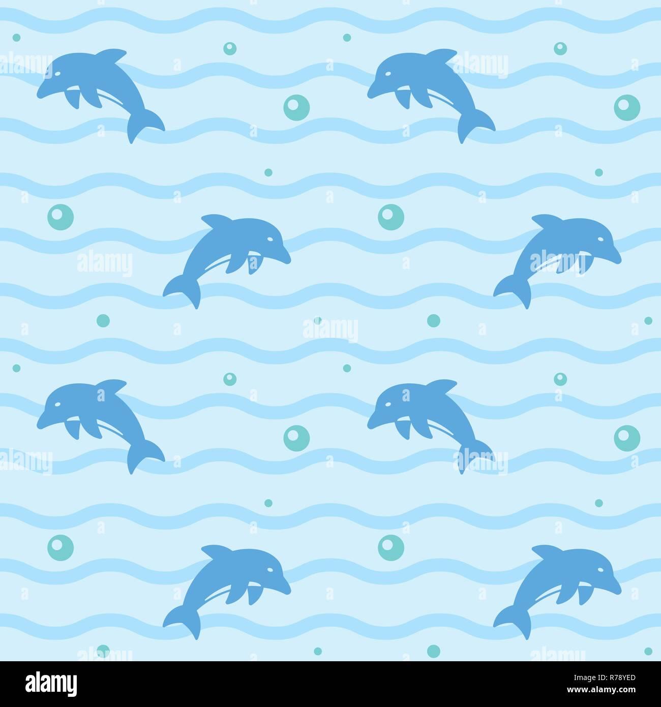 Carta da parati senza giunture pattern con jumping delfini, le onde e le bolle illustrazione vettoriale Immagini Stock