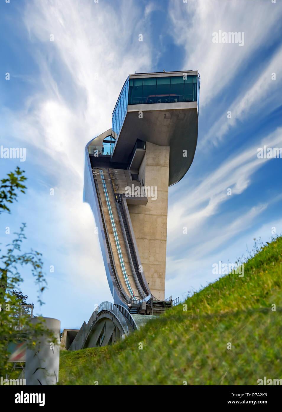 Bergisel Ski Jump Tower, Innsbruck Immagini Stock