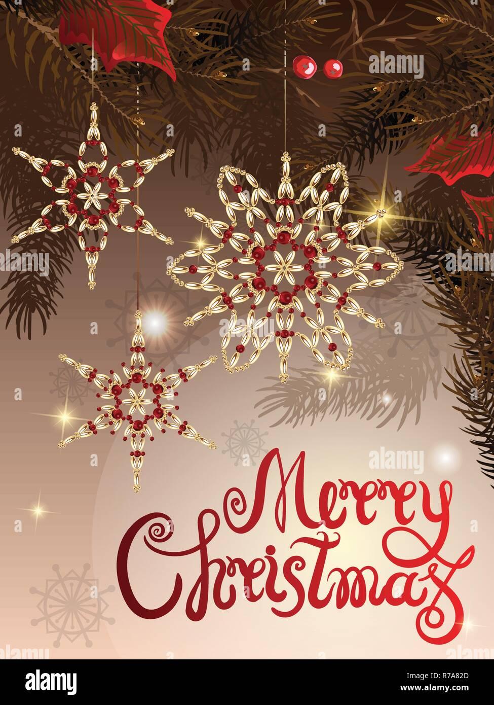 Immagini Con Scritte Di Buon Natale.Illustrazione Vettoriale Di Saluto Modello Di Pagina Di