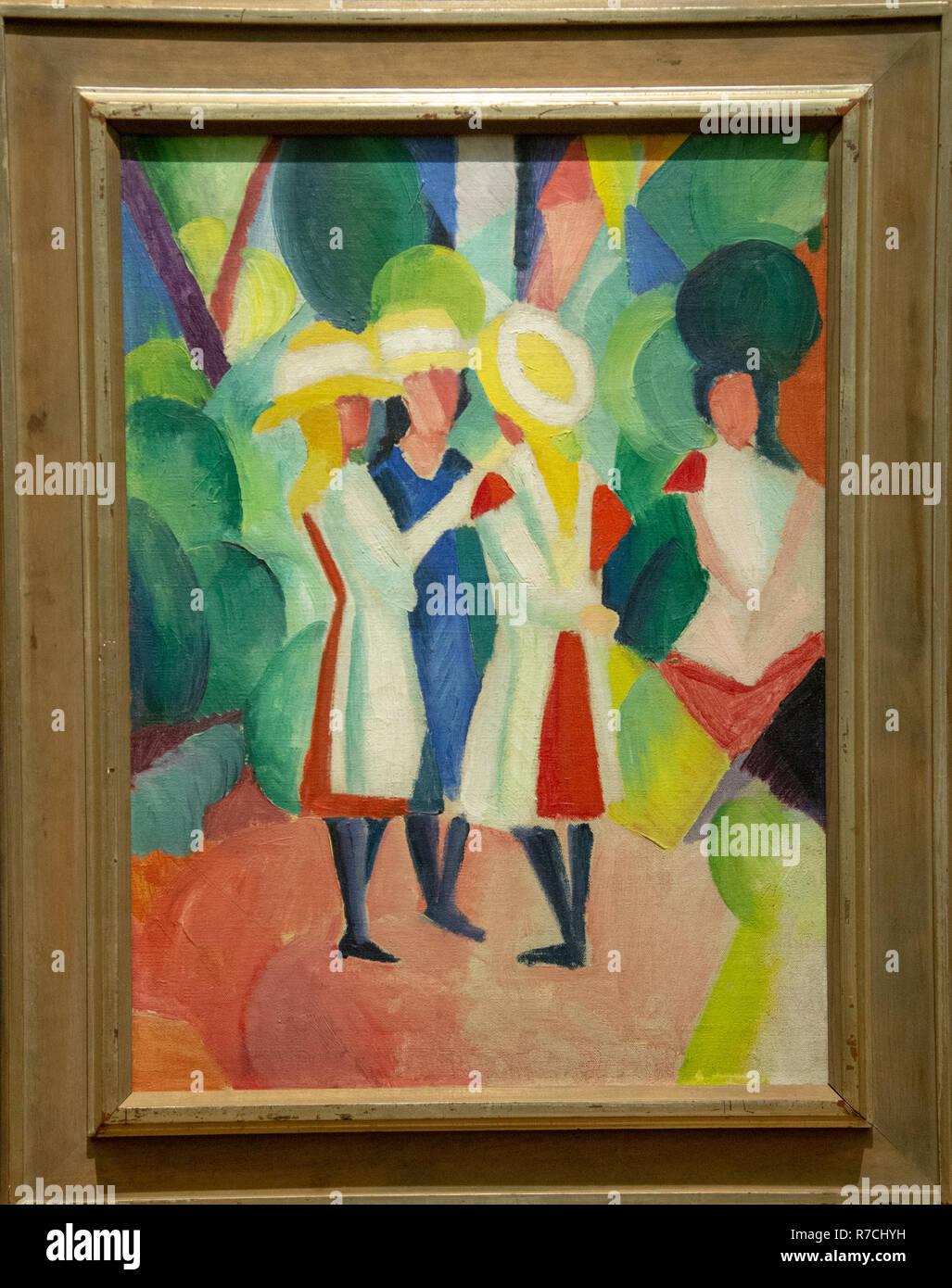 """""""Le tre ragazze con giallo di cappelli di paglia"""" da August Macke, gemma, Gemeentelijk Museum Den Haag, Paesi Bassi Immagini Stock"""