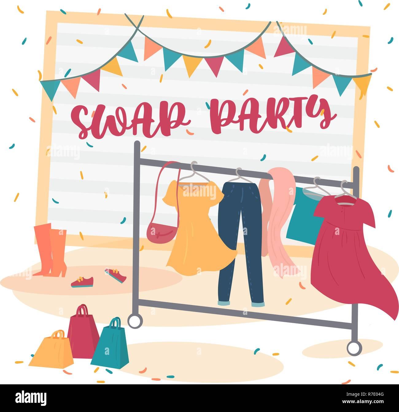 Fashion party di swap. Scambiare il vostro concetto di stoffa Immagini Stock c6bacb6b192