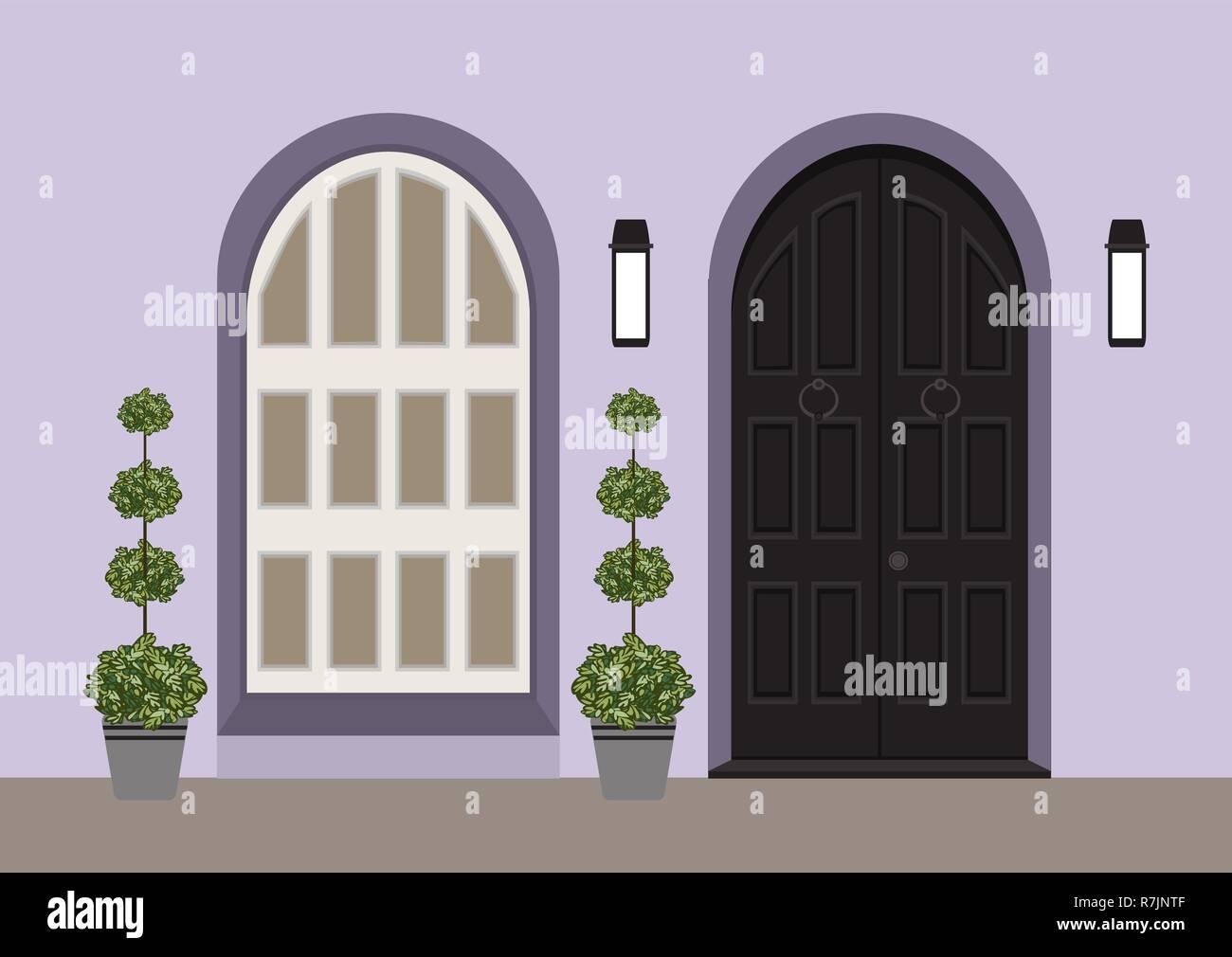 Porta Finestra Ingresso Casa casa porta anteriore con porta e finestra, lampada, fiori