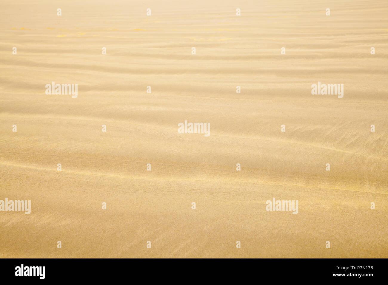 Spiaggia di sabbia con onda modello Ripple sfondo. Immagini Stock