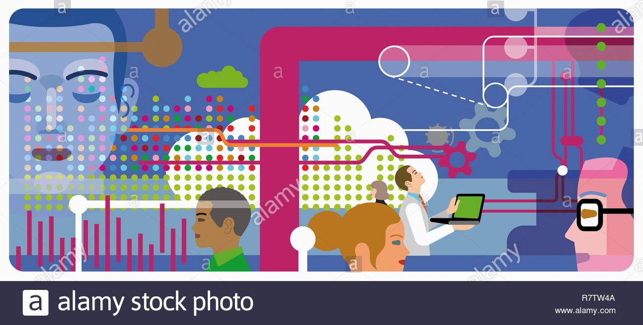 Persone che condividono dati e rendendo le connessioni tramite il cloud computing Immagini Stock