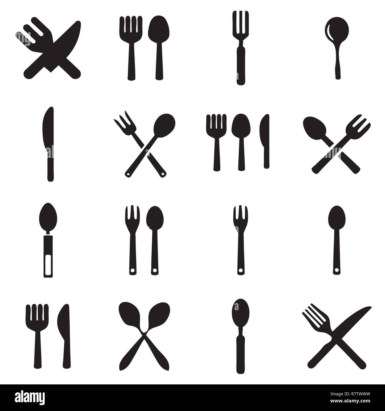 Cucina cucchiaio e forchetta vettori icona Immagini Stock