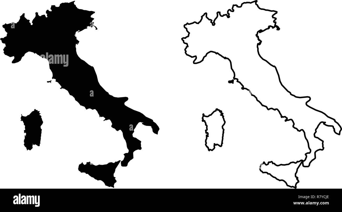 Cartina Dell Italia Solo Contorno.Italy Map Black Silhouette Immagini E Fotos Stock Alamy