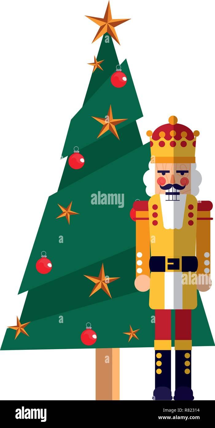 Immagini Natalizie Vettoriali.Albero Di Natale Schiaccianoci Toy Decorazione Illustrazione