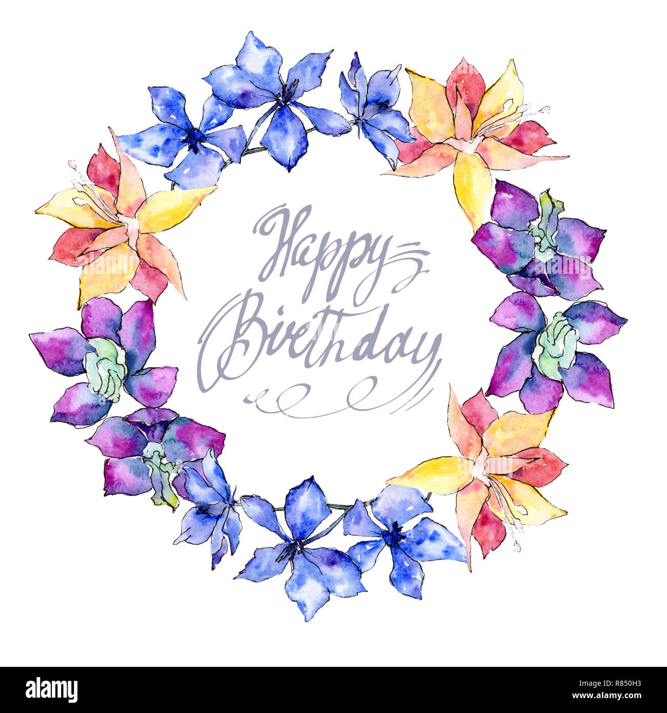 Viola Giallo E Bianco Fiori Di Orchidea Buon Compleanno
