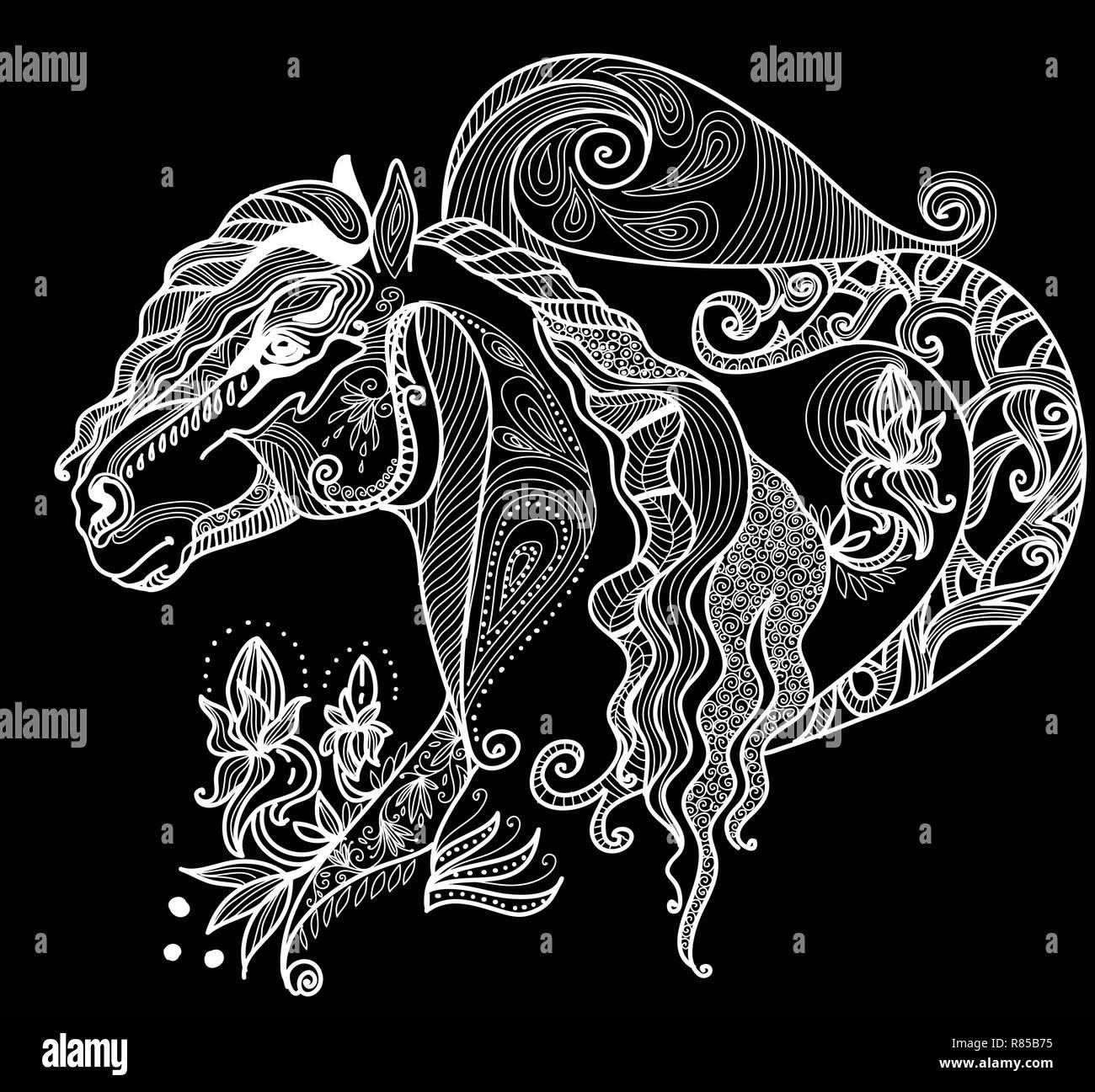 Vettore Di Disegno A Mano Illustrazione Zentangle Cavallo In Colore